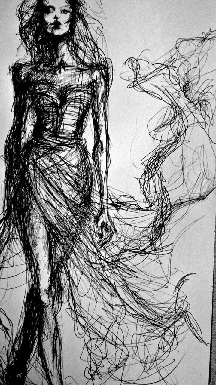 Photo of Fashion Sketch – elegant fashion illustration of a model in a glam dress // Dain…