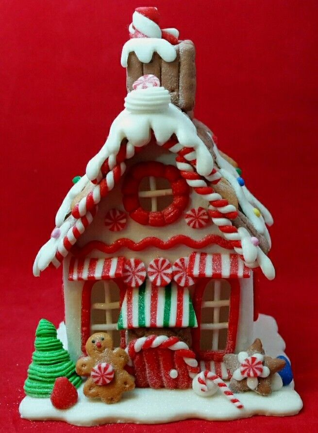 Candy White Red 8 Claydough Light Up Brown Gingerbread House Kurt Adler Decor Kurtadler Gingerbread House Gingerbread House Candy Gingerbread