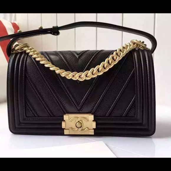 67695be5fd13a3 Chanel Le Boy chevron. Calfskin leather. Beautiful new bag. Shiny gold  hardware. This is the old medium size 9.8