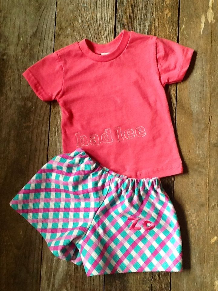 Monogrammed toddler top and shorts. www.etsy.com/PetiteVintageVisions