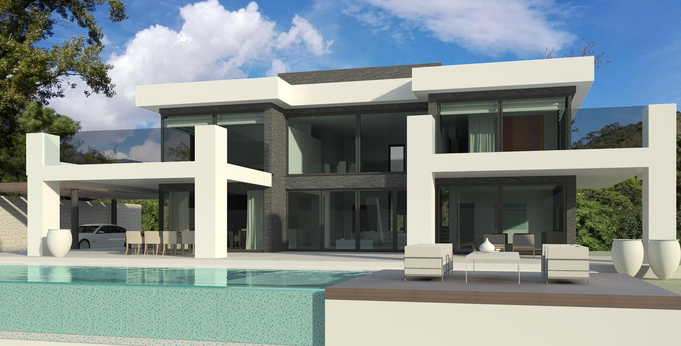 Modern turnkey villa in marbella by norwegian builder for Maison en u moderne
