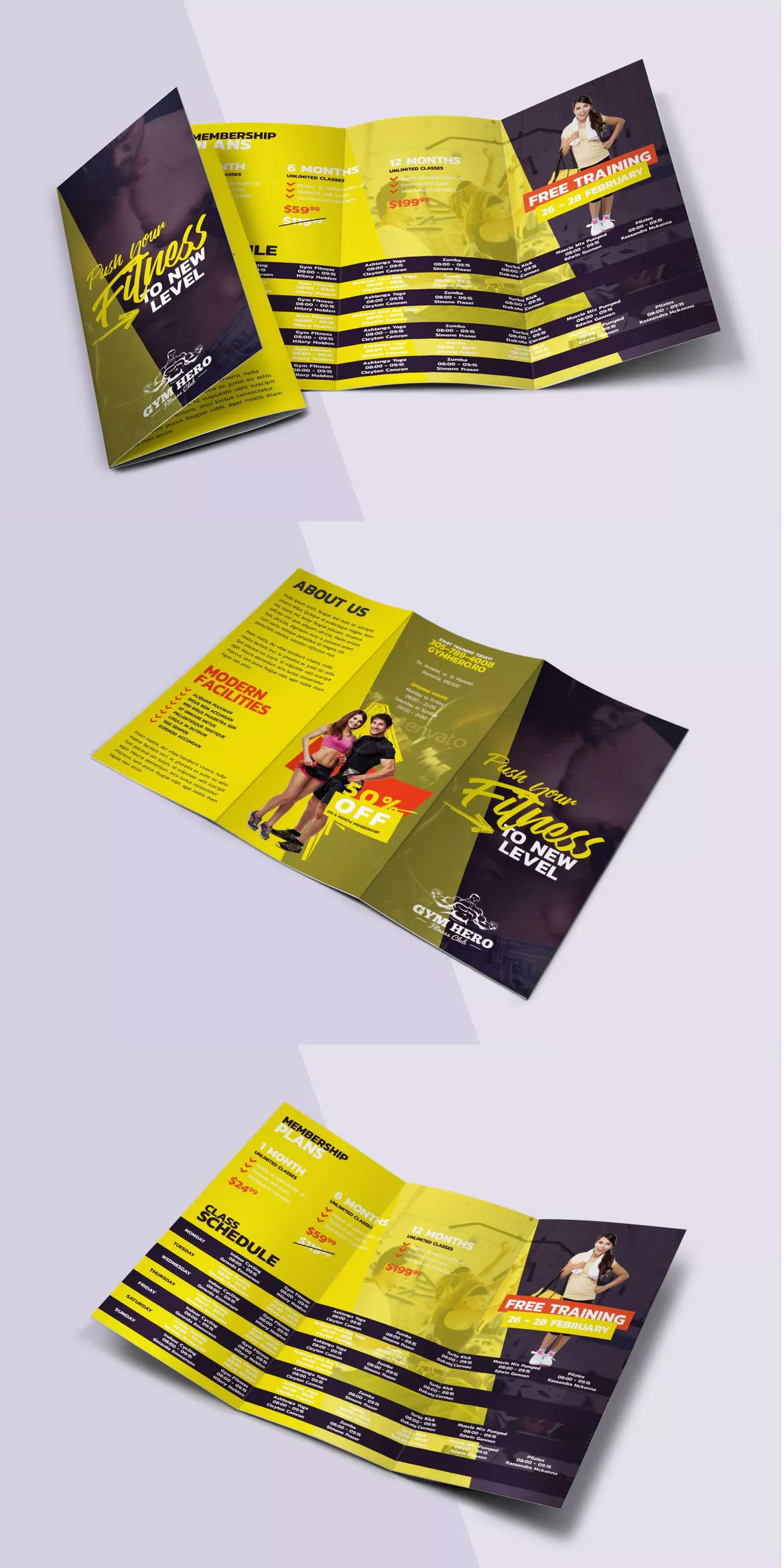Gym Trifold Brochure Template PSD A4 and US Letter SIze | Brochure ...