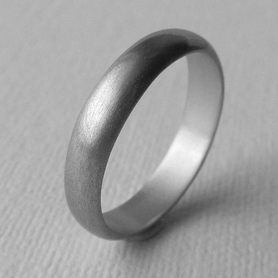 Men S Ring Narrow Domed Band Handcrafted In Aluminum Wedding 10th