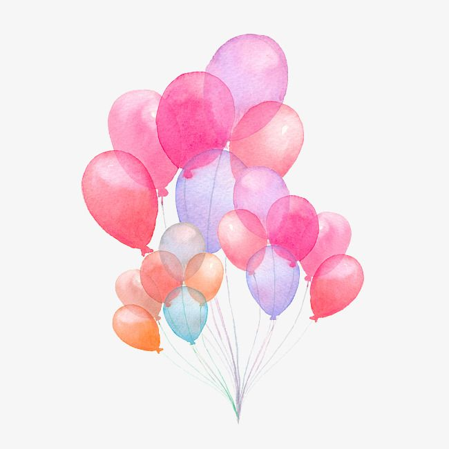 Hand Painted Watercolor Balloon Illustration Hand Painted
