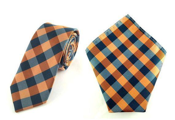 Mens 6cm Orange Dark Green Checkered Skinny Tie with Pocket Square.