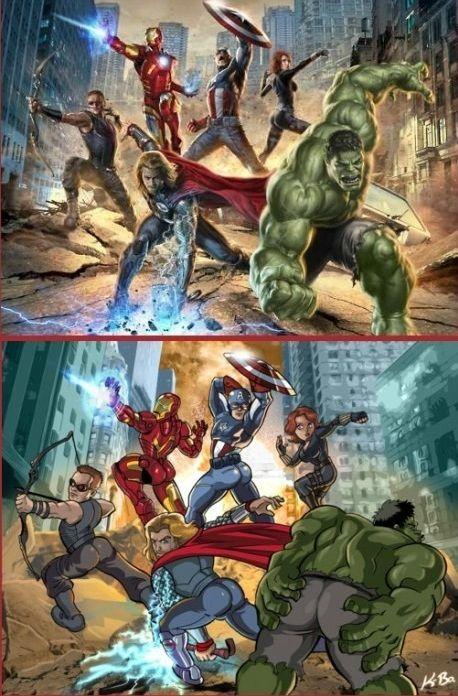 If male superheros posed like females..