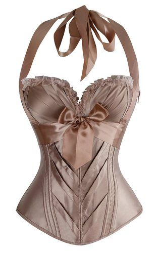 2a4454a4ef4a9 Charmian Women s Burlesque Fashion Satin Halter Boned Zipper Bustier Corset  Top…