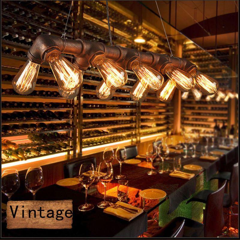 Retro E27 Wasserrohr Leuchte Lampe Vintage Industrial Pendelleuchte Hangeleuchte Lampe Hausbar Theke Wasserrohr