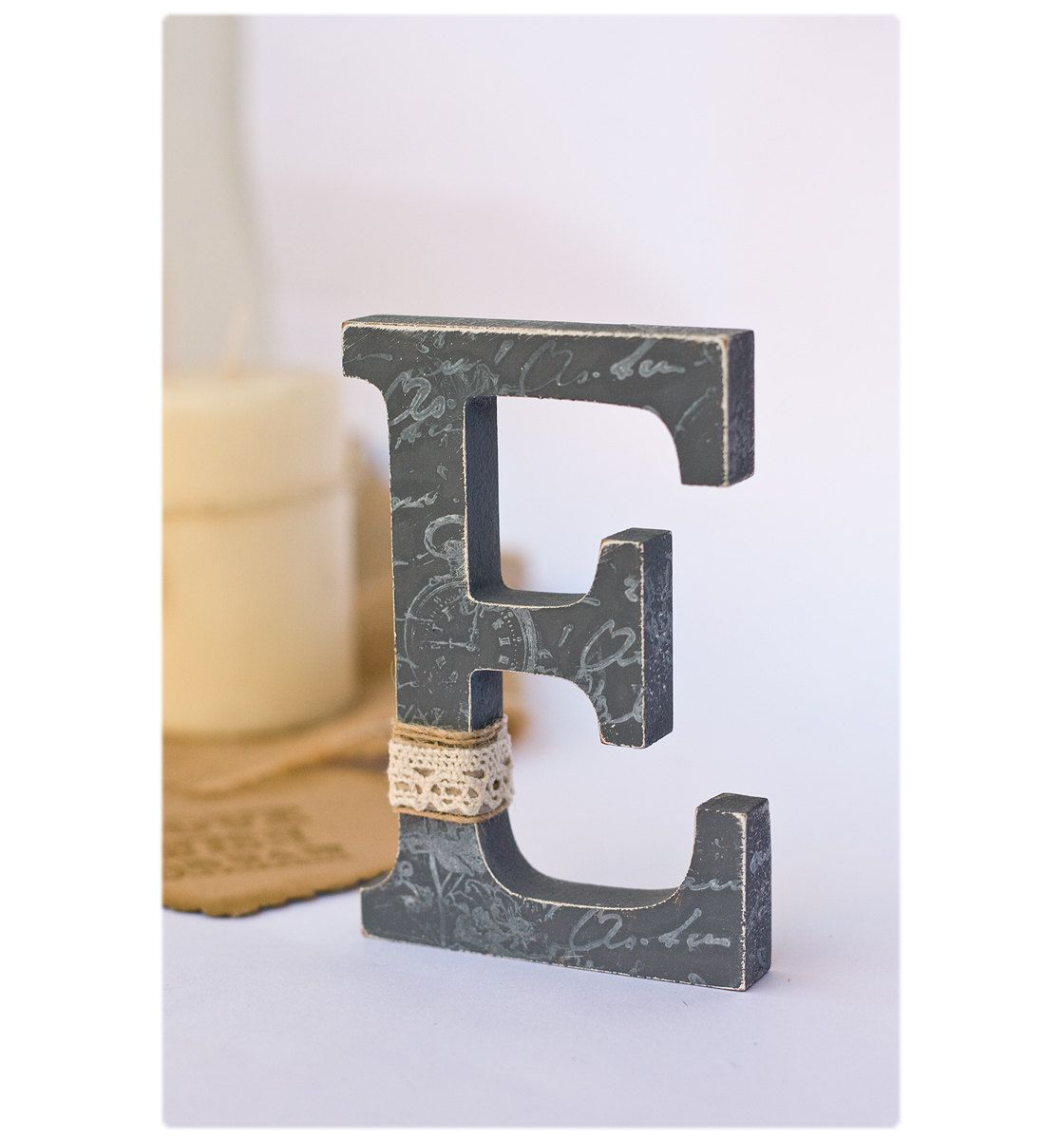 Rustic Letter E Wedding Cake Topper  Nursery Decor  Rustic