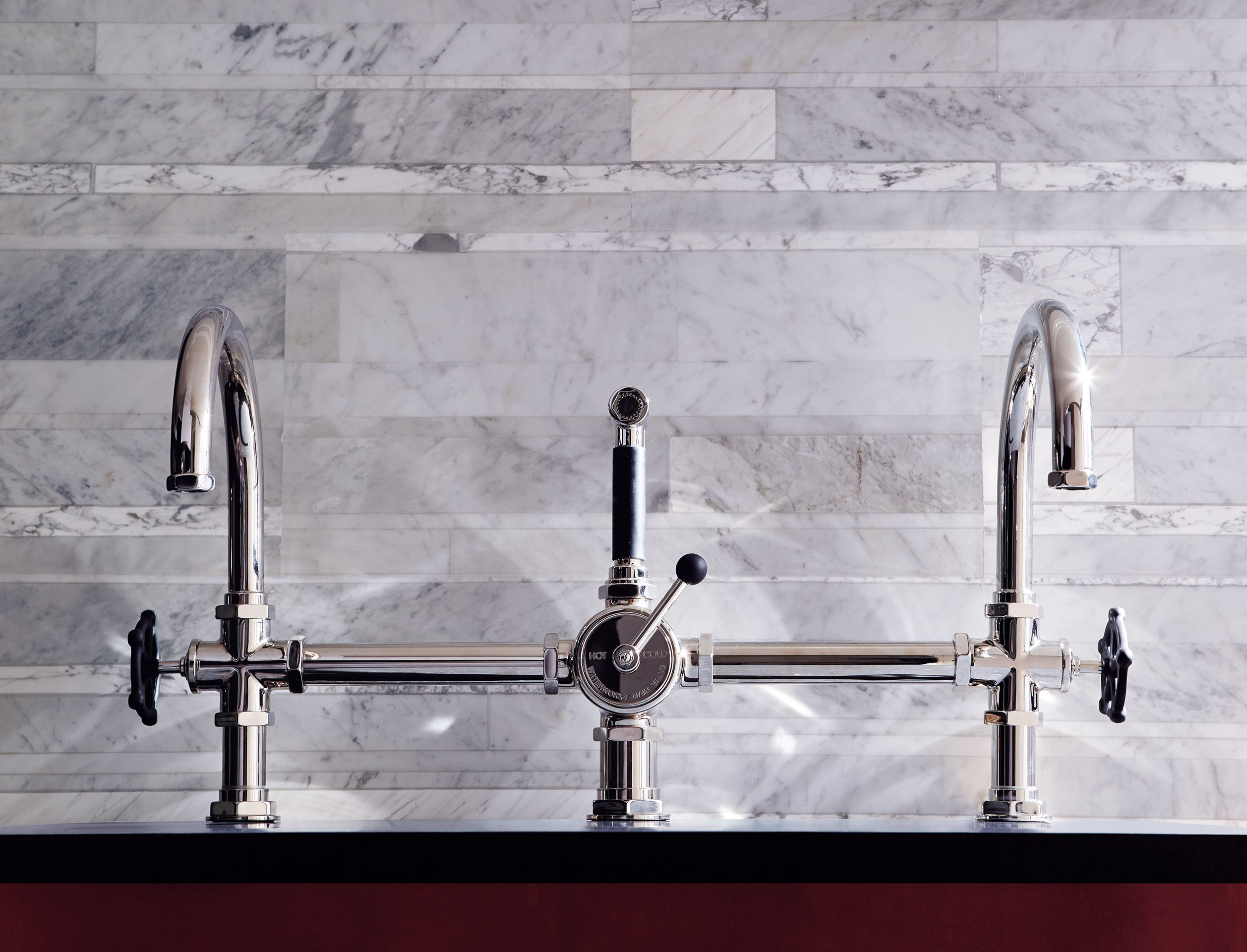 restoration nickel sprayer lever bridge handles with faucet faucets hardware brushed bellevue bn side kitchen brass