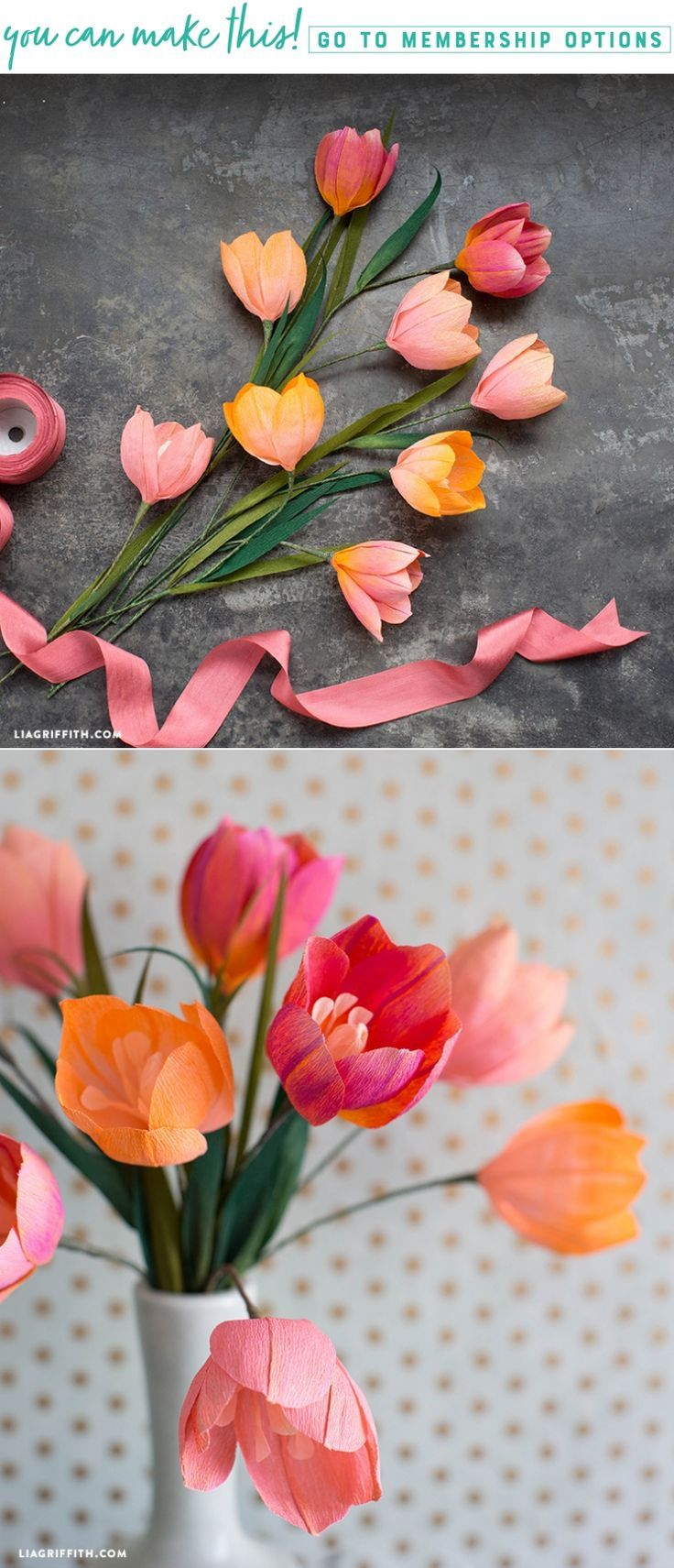 Craft Pastel Painted Crepe Paper Tulips For Your Home Paper