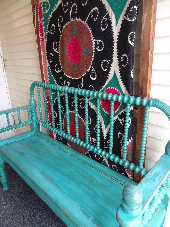 Antique Aqua Painted Spool Bench For