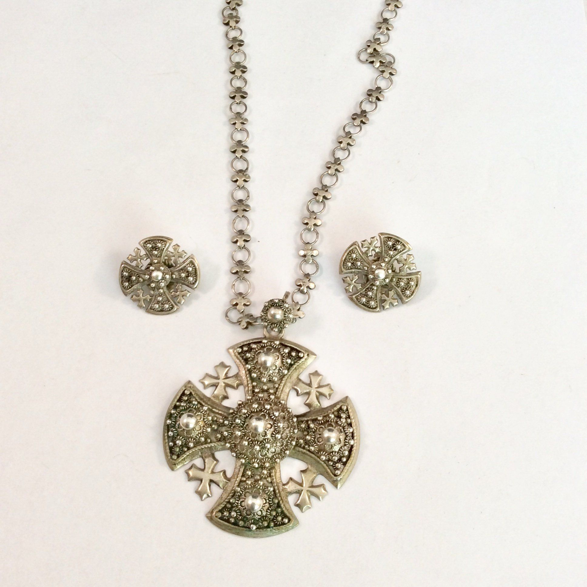 Cross and Coins necklace and earring set