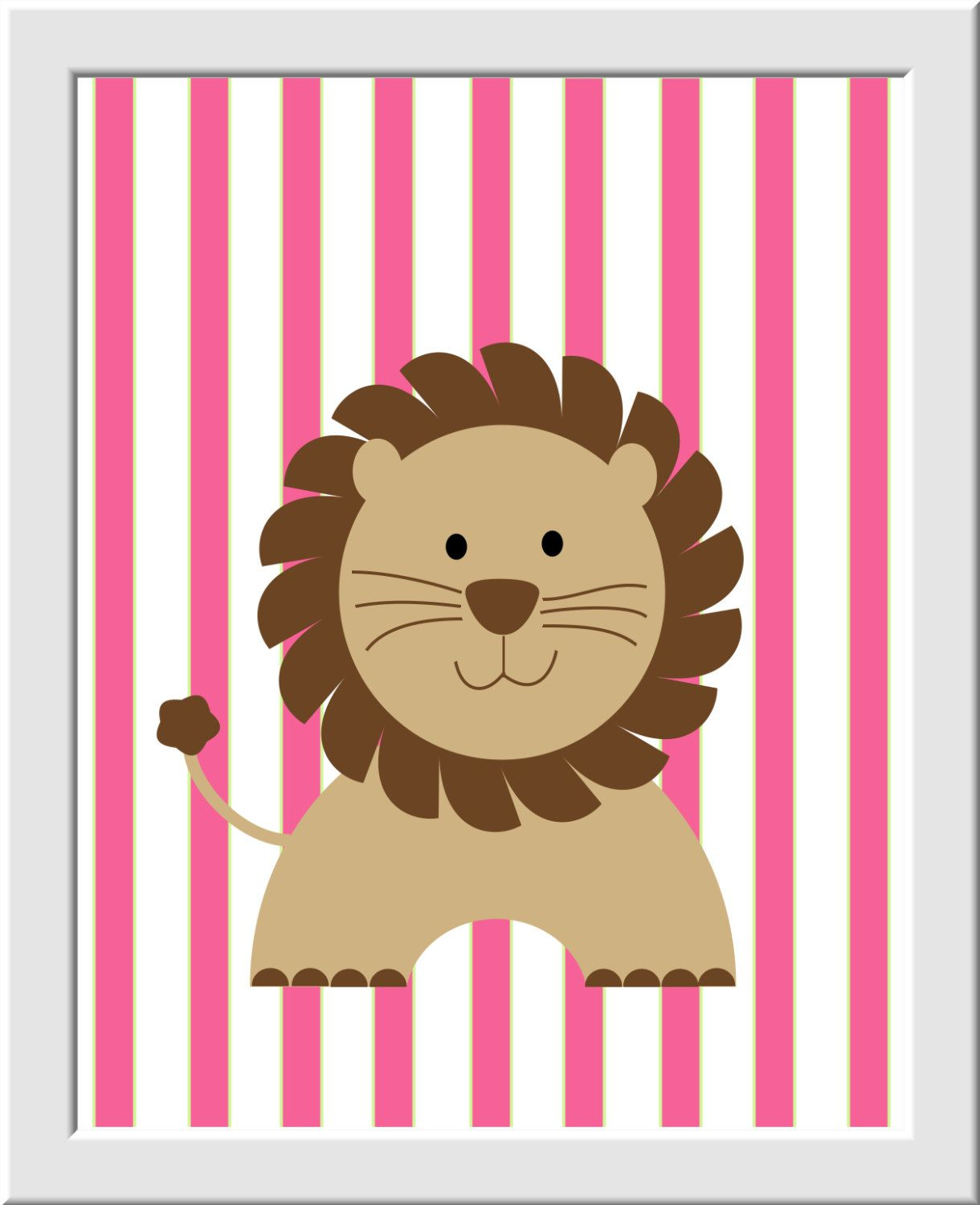 Baby Girl Nursery Wall Art Pink Green Elephant Giraffe Lion Safari ...