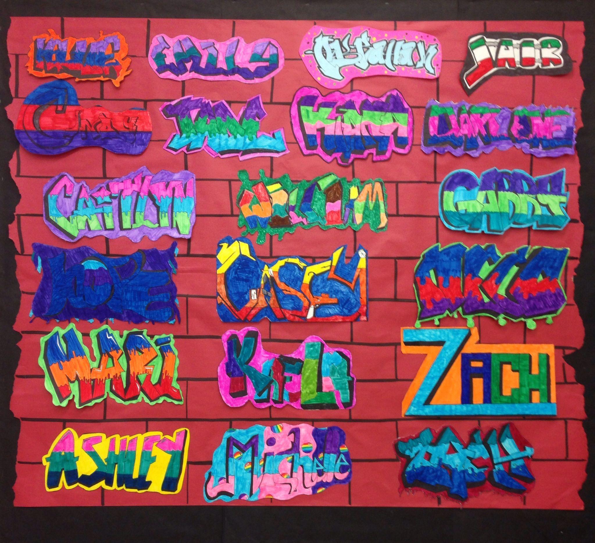 Mrs mclains art room graffiti name tags middle school art