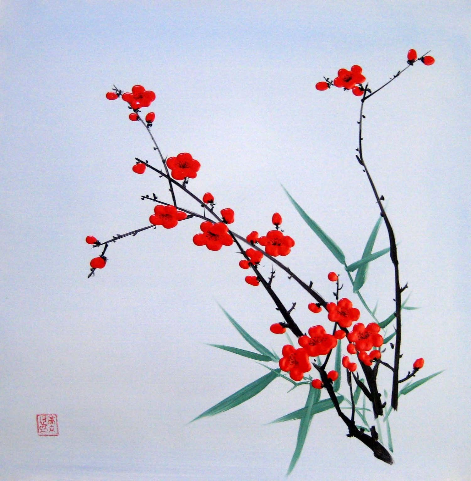 Chinese Floral Acrylic Painting Plum Blossom In Spring Free
