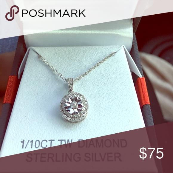 1 10 Cttw Diamond Sterling Silver Pendant Never Worn Genuine 1 10 Cttw Diamond 18 Inch Link Chain Ginuwi Sterling Silver Pendants Diamond Gorgeous Necklaces