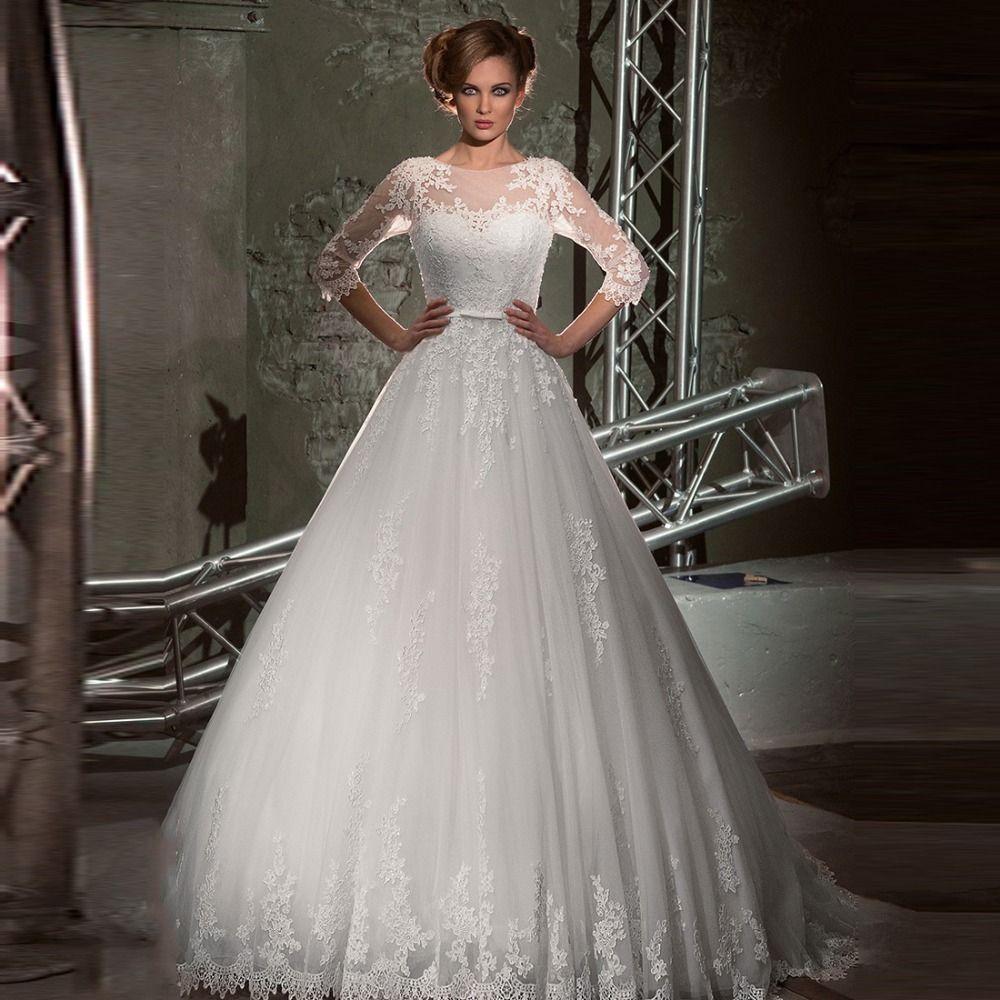 Vestido de noiva princesa 2016 Sheer Bateau meia manga apliques vestidos de noiva do vestido de casamento vestido alishoppbrasil