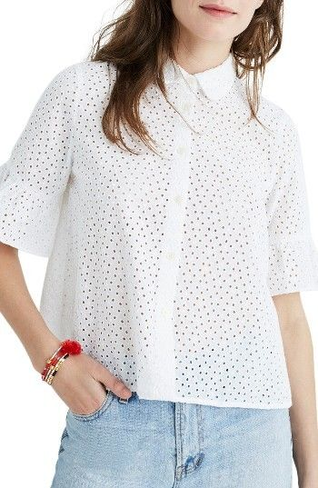 Women S Madewell Eyelet Bell Sleeve Shirt Eyelet Tops Pinterest