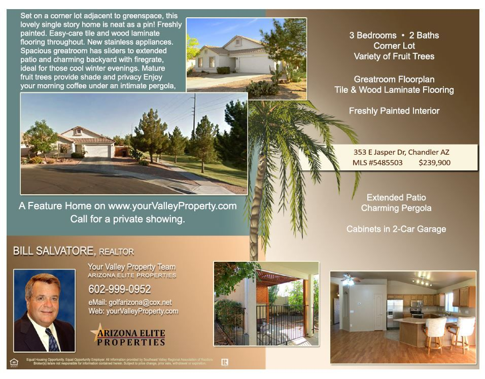 Chandler Arizona home for sale, Gilbert Realtor Bill Salvatore w - real estate bill of sale