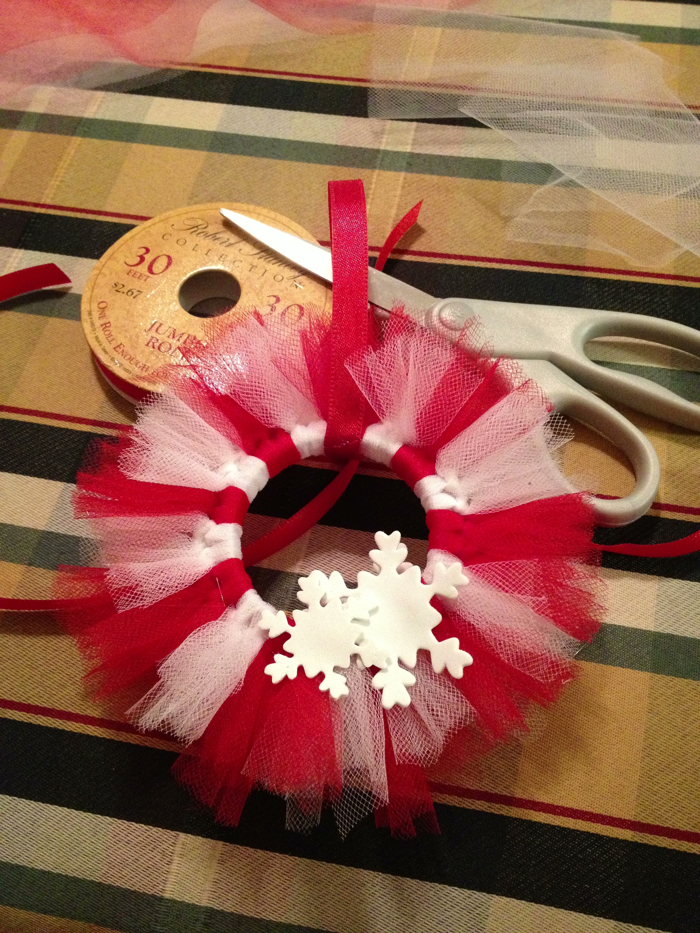 Mini Tutu Wreath Ornaments Made With Shower Curtain Rings