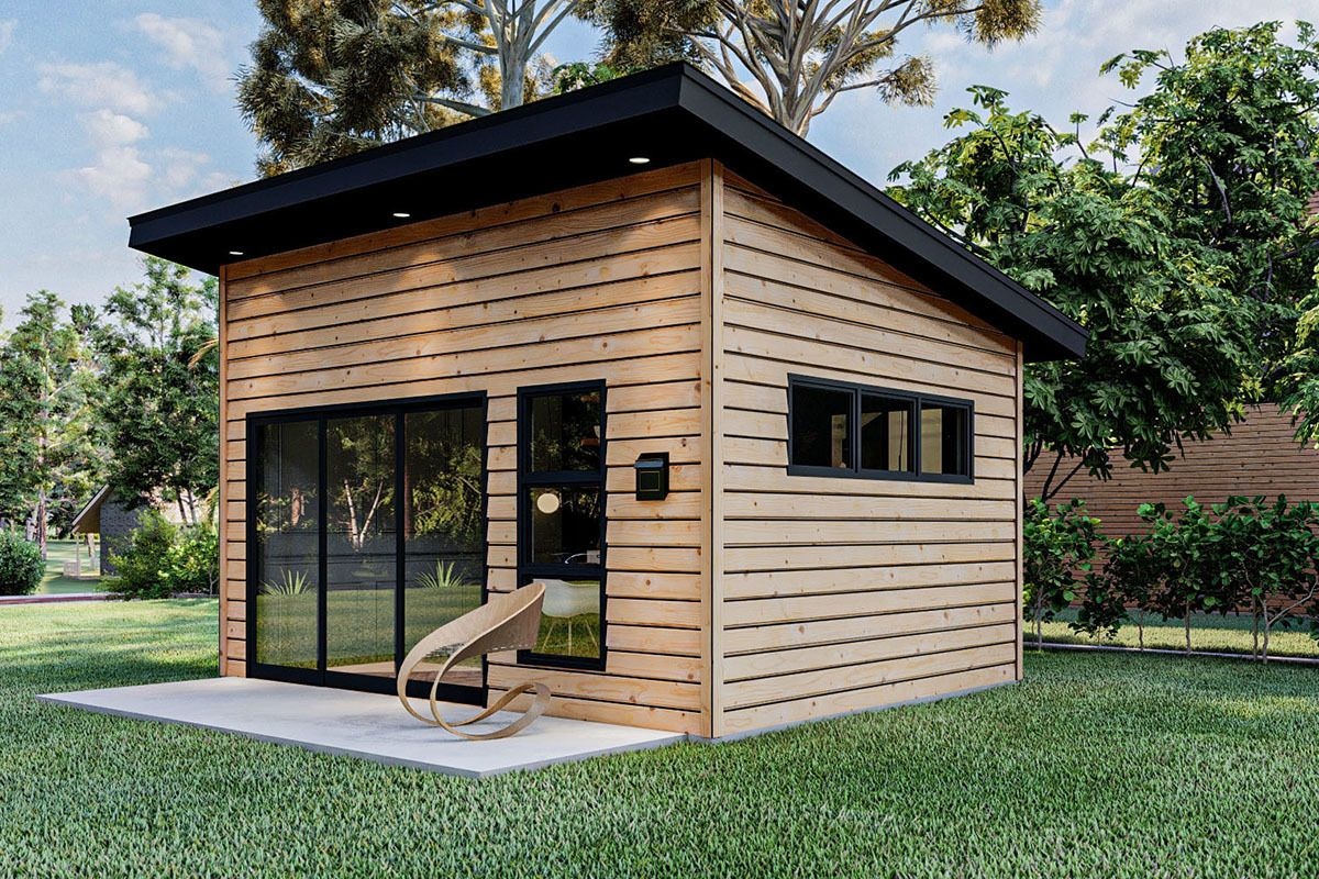 Plan 62891dj Home Office Studio With Modern Good Looks Backyard Office Modern Shed Shed Design