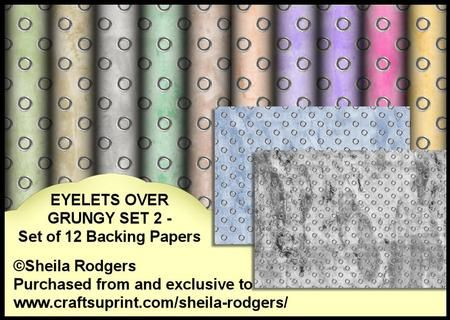 Eyelets Over Grungy Set 2 Set of 12 Backing Papers on Craftsuprint designed by Sheila Rodgers - This is my second set of 12 x A4 backing papers which have grungy designs overlaid with silver eyelets. Perfect for men's cards, although there are some femini colours included in the kit too. - Now available for download!