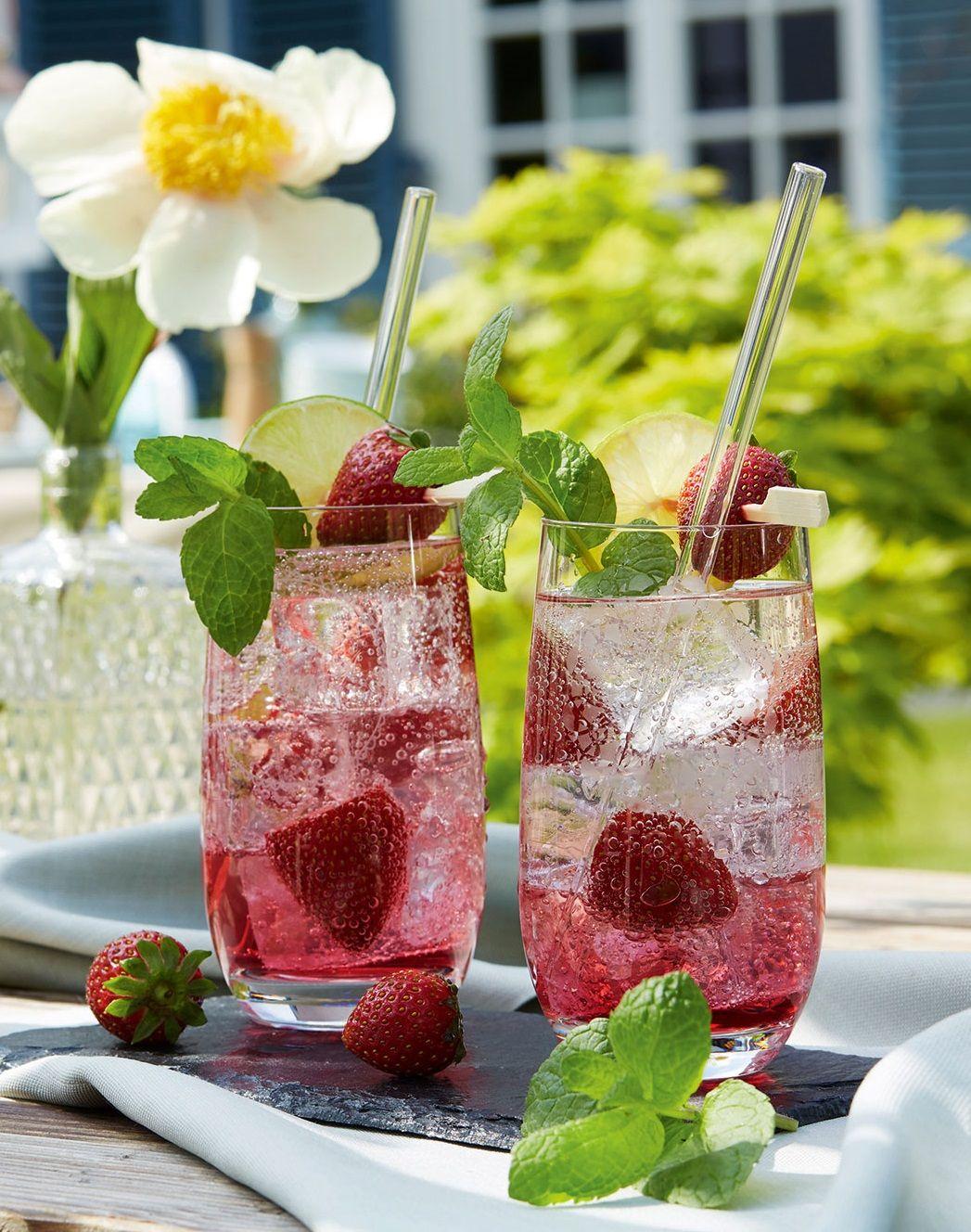 Erdbeer Hugo Mit Oder Ohne Alkohol Getränke Alkoholfrei Fruchtige Drinks Alkoholfreie Getränke