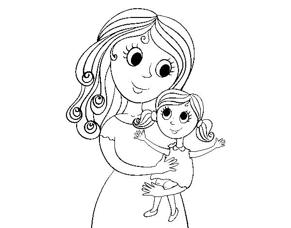 Dibujo De Madre Con Su Hija Para Colorear Dibujo Madre E Hija Dibujo Para Mama Dibujos