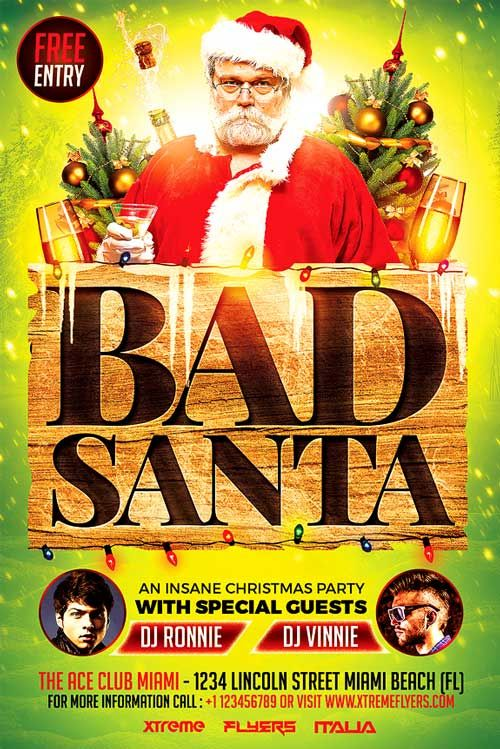 Bad Santa Xmas Flyer Template Httpxtremeflyersbad Santa
