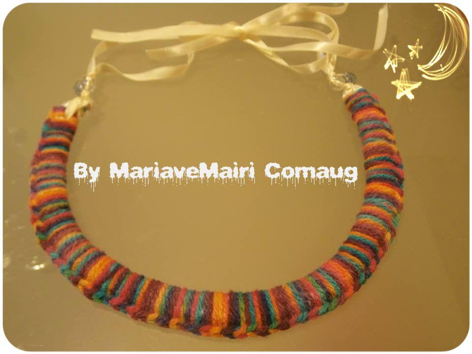 crochet colorful necklace..  tejido, multicolor collar!!