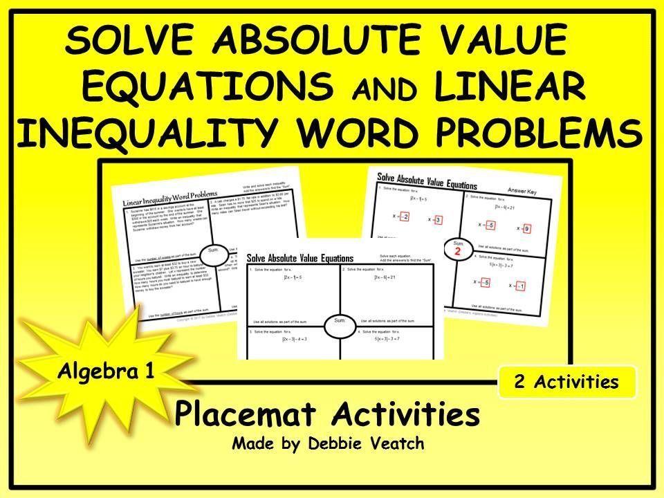 Solve Absolute Value Equations AND Linear Inequality Word