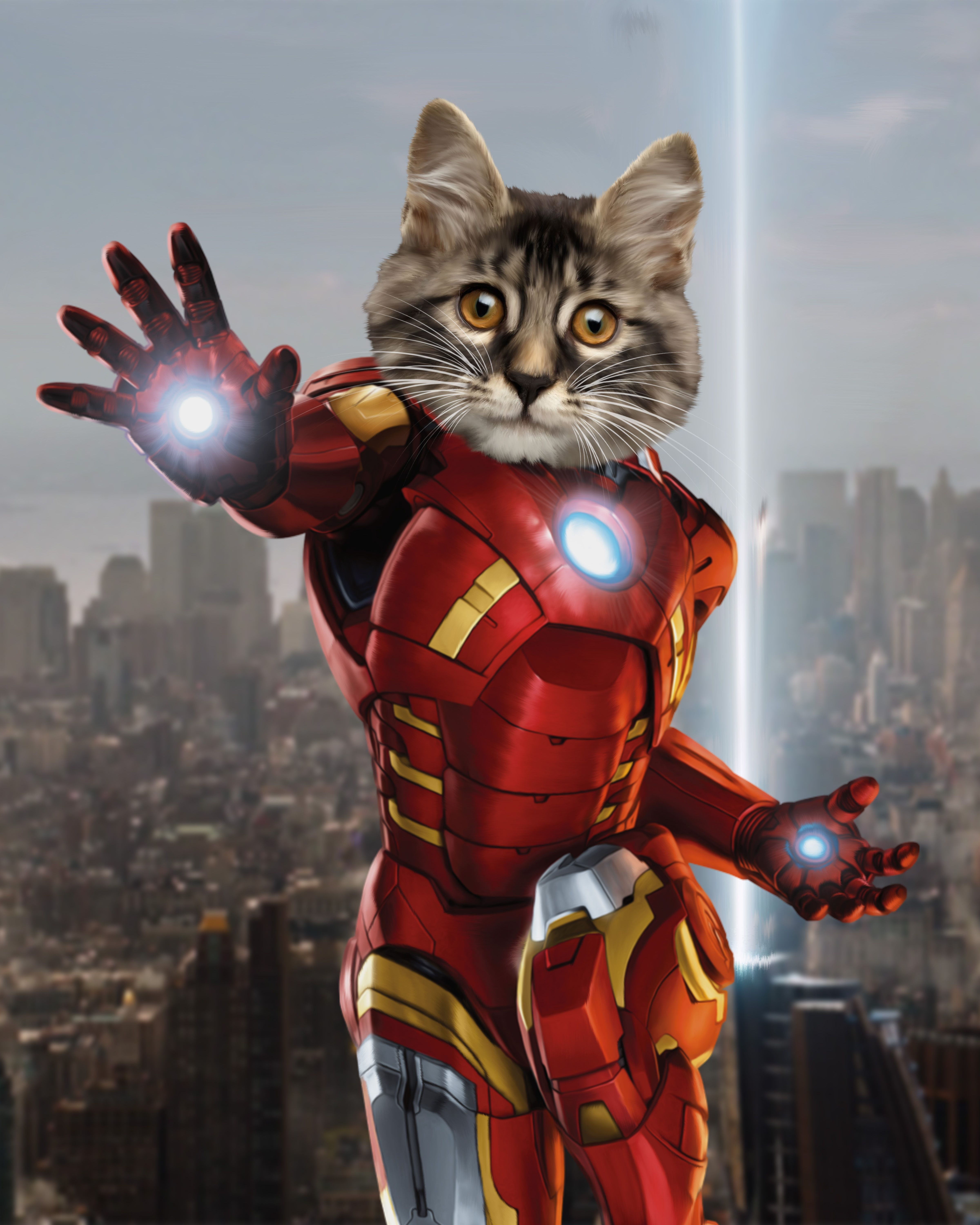 Custom Superhero Gift~Personalized Marvel Avengers pet portrait~Pet Art~Cat gift~Iron Man Gift