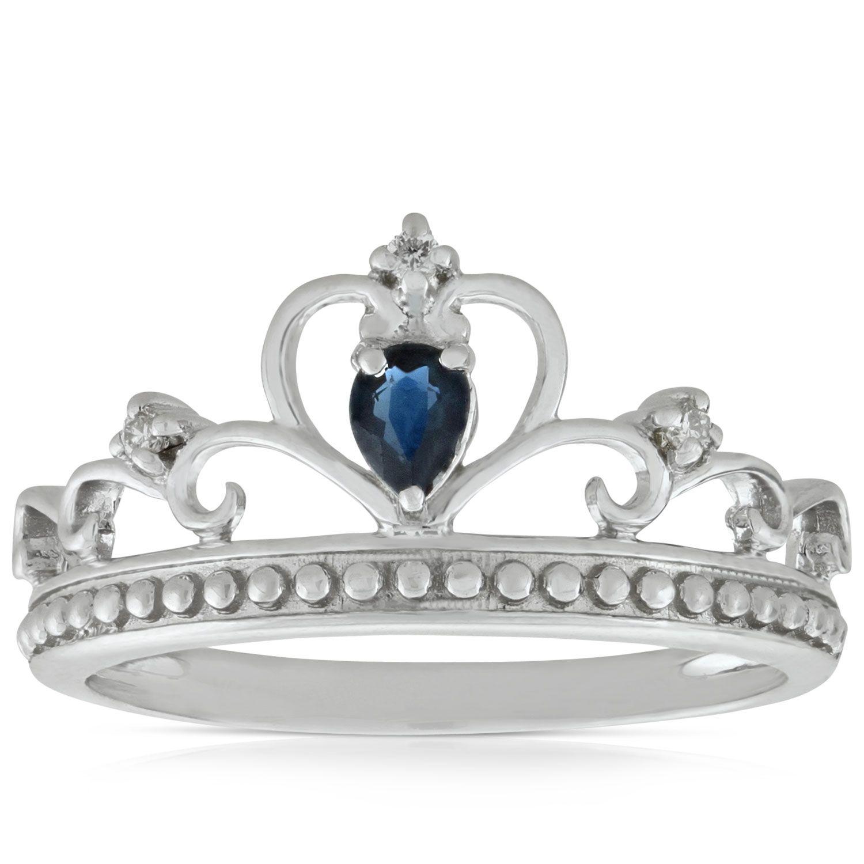 Sapphire & Diamond Crown Ring 14K Diamond crown ring