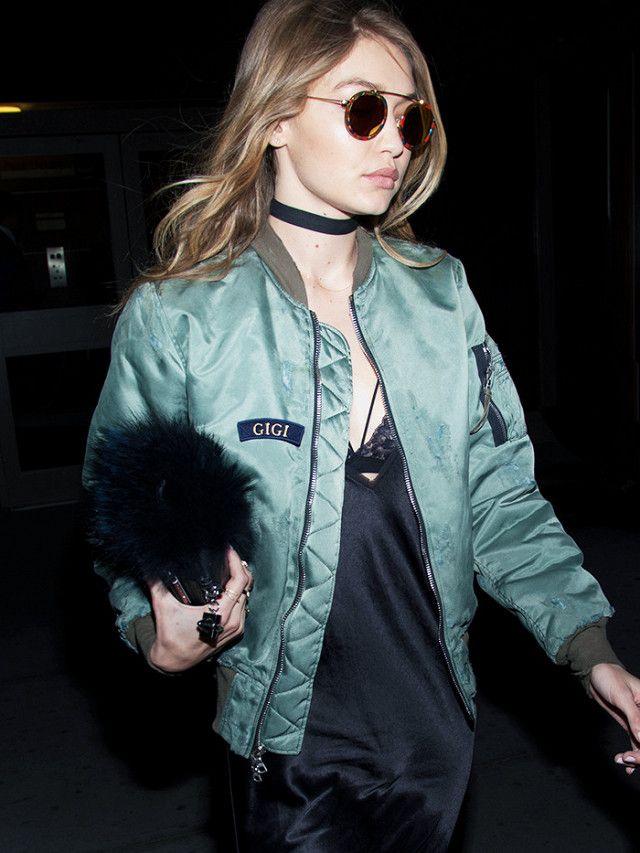 sassleisure: Gigi Hadid in a bomber jacket and black slip dress