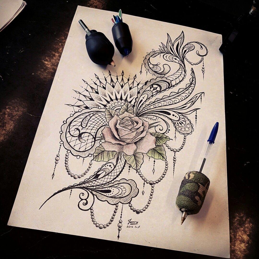 rose tattoo design idea, mandala with feminine mendi patterns. by Dzeraldas Jerry Kudrevicius, tattooist that only have 4 fingers.
