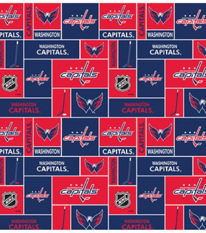 Nhl Washington Capitals Hockey 100 Fleece Fabric Material By Etsy Washington Capitals Washington Capitals Hockey Fabric Letters