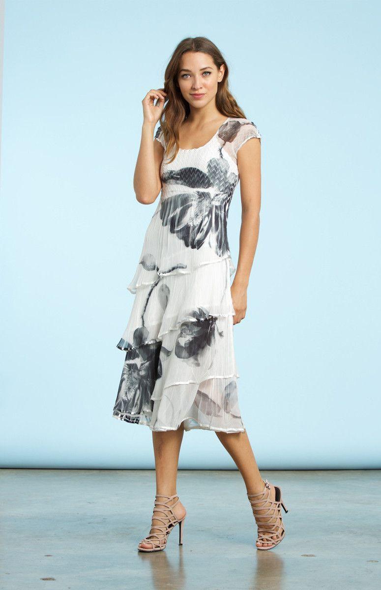 Komarov White Black Floral Dress Komarov Pinterest Black