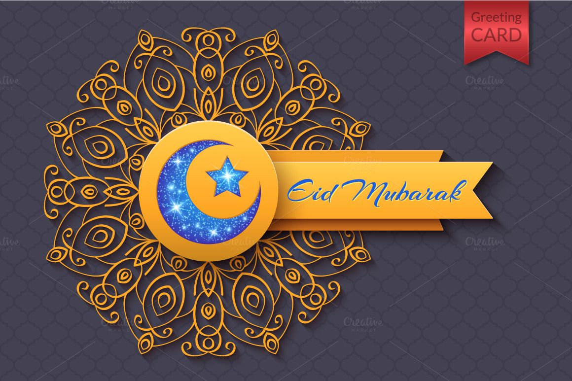 Eid mubarak abstract greeting card eid mubarak eid and creative eid mubarak abstract greeting card by lianellas shop on creative market kristyandbryce Image collections