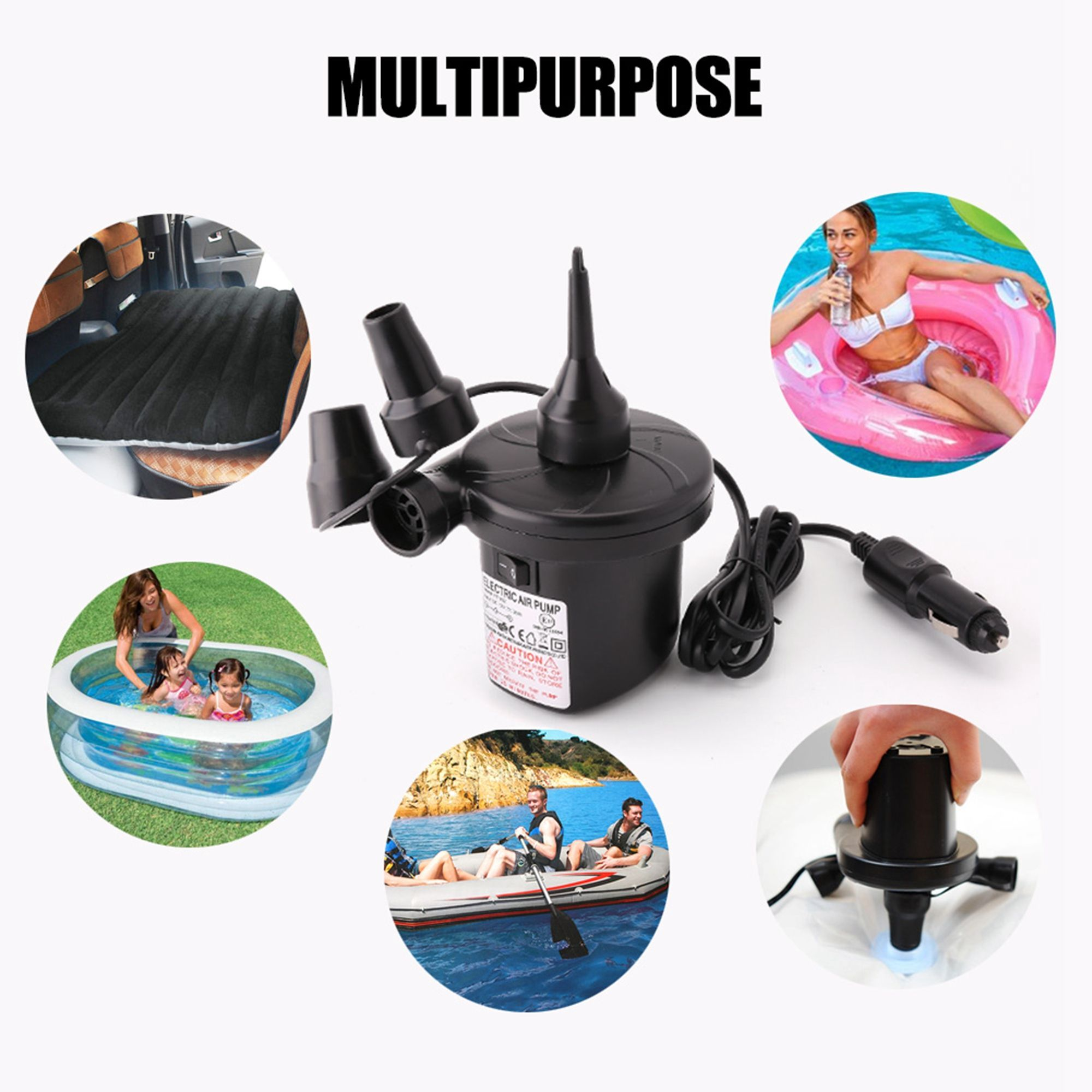 Portable 12v Dc Electric Air Pump For Inflatables Mattress Raft Bed 3 Nozzles Replacement For Intex Pump Inflatable Mattress Inflatable Air Mattress Air Pump