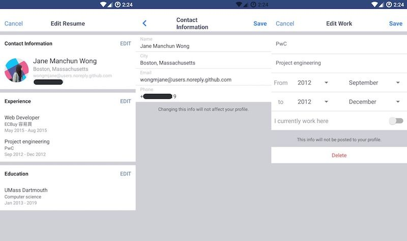 Facebook Spotted Testing LinkedIn\u0027s Resume Feature - It appears - google docs spreadsheet