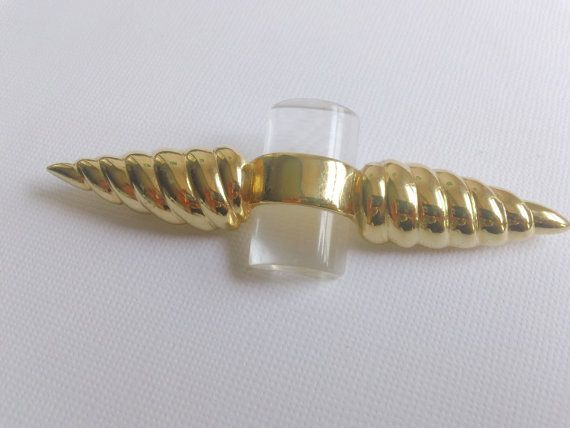 Unusual Design Lucite Brooch in Gold Tone by CrimsonVintique ~ETS #lucitebrooch #vogueteam #etsygifts