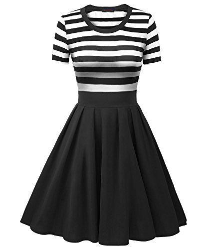299fa26dd25d Vessos Women's Vintage Stripes Patchwok A-line Short Sleeve Cocktail Dress