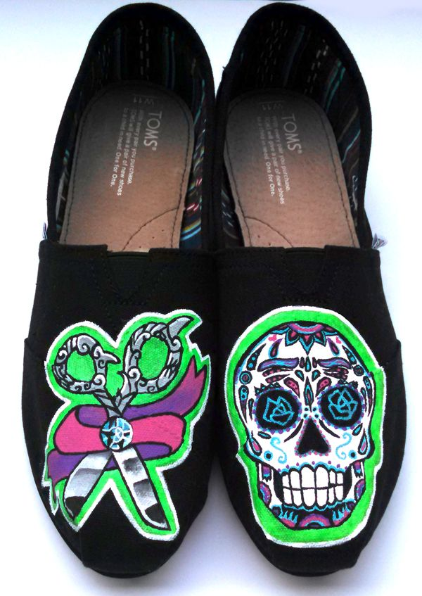 f17a988c5c1d Calavera sugar skull and hair salon themed hand painted toms shoes. Have  your own pair