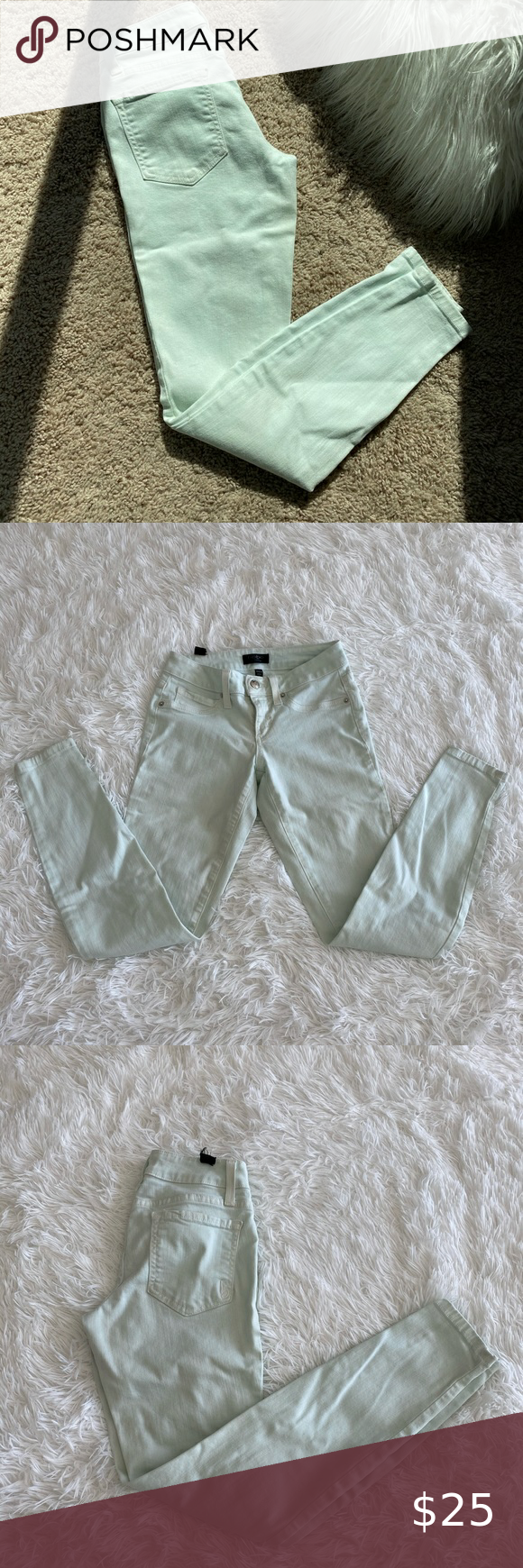 Mint Green Mid Rise Bebe Jeans 26 These Are Excellent Condition Comfy Flattering Mint Green Jeans Size 26 By Be In 2020 Mint Green Jeans Bebe Jeans Womens Jeans Skinny