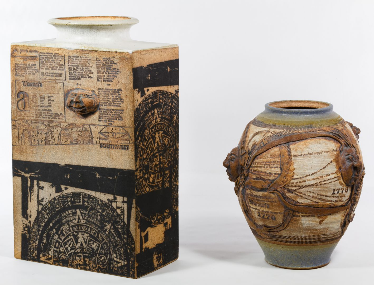 Lot 307: Don Johns Pottery Vases; Two vases decorated with transfer prints, impressions, incised lines and applied faces; round one signed on the underside