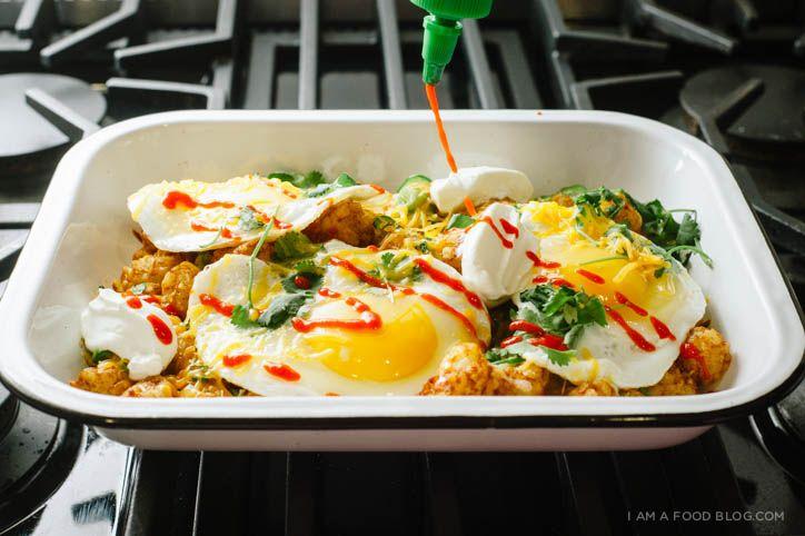 Tater Tot Breakfast Nacho   Recipe   breakfast   Breakfast ...