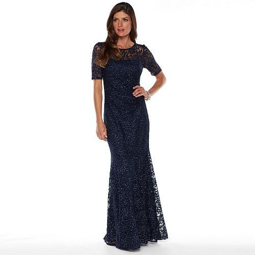 04e0f13796ed Women's 1 by 8 Glitter Illusion Lace Evening gown | Italian theme ...
