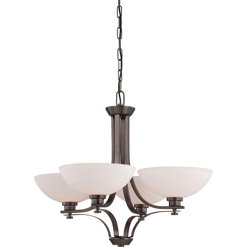 Illumine 4 Light Hazel Bronze Chandelier With Frosted Glass Shade