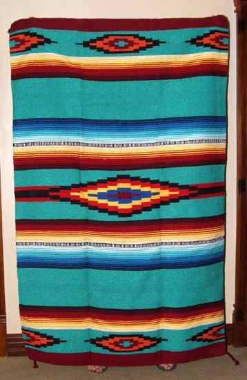 Saltillo Mexican Throw Or Area Rug Tapestry Southwestern Lg 4x6 Aqua Green